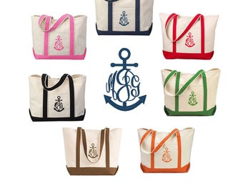 Personalized Anchor Tote Bag - Personalized Canvas Tote Bag with Anchor - 7 tote bag color options