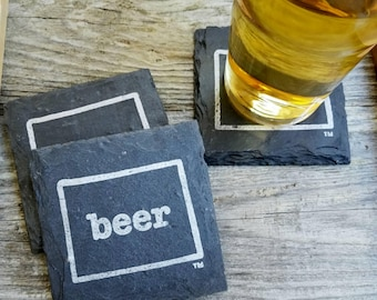 Wyoming Craft Beer Slate Coasters - Mancave, Garage, Fathers Day, Beer Lover, Mens Gift