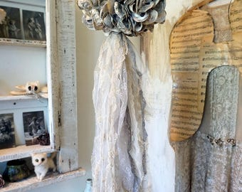 Beach cottage oyster accent light natural shells w/ tattered lace fabric resembles ocean creature  LED lighting home decor anita spero deign