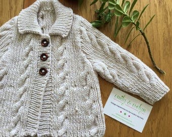 Beautiful cable baby sweater. Cream sweater. Natural baby sweater. Newborn cardigan. Baby sweater. Ready to ship.