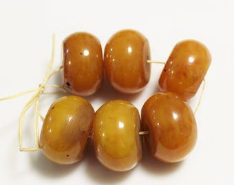 Honey Color Berber Resin Beads, African Beads from Morocco, Ethnic Jewelry Supplies (AL259)