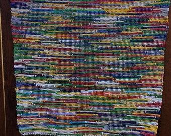 "Hand Woven Rag Rug -  Sock Top Cotton 22"" x 34"""