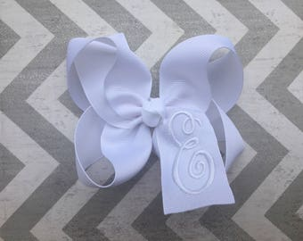 White Hair Bow with White Monogram