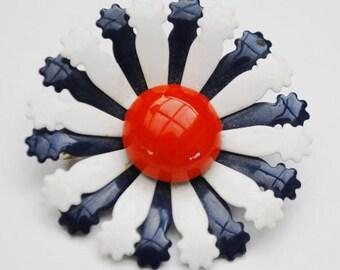 Flower Brooch - Red White Blue  - Enamel on Metal - Floral  pin