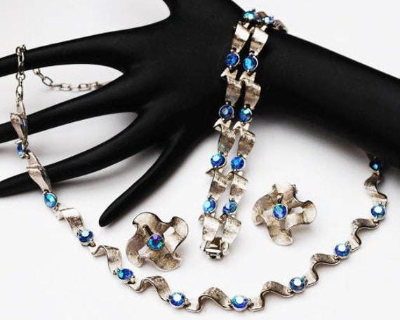 Rhinestone necklace bracelet and earring set - Silver ribbon links  - light blue tint - AB rhinestones -Mid century- Parure -wedding Bride
