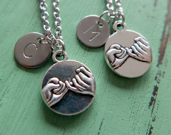 Best Friends Necklace Set/pinky promise/Initial/Monogram/Stainless steel chain