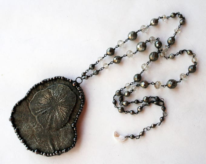 Large Pyrite Sun Necklace