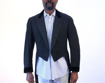 Victorian Tailcoat with Velvet Trim, Victorian Tail Coat, Antique Frock Coat, Victorian Cutaway, Formal Victorian Coat, Antique Tail Coat, M