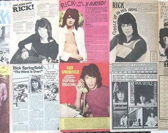 RICK SPRINGFIELD ~ General Hospital, Jessie's Girl, Don't Talk To Strangers, Noah Drake ~ B&W Articles from 1973-1974 - Batch 2