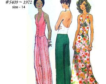 Simplicity 5409 Misses Blouse, Halter Vest, Pants, and Long Skirt ~ a 1970's Pantsuit ~ UNCUT - Size 14 - Vintage 1972