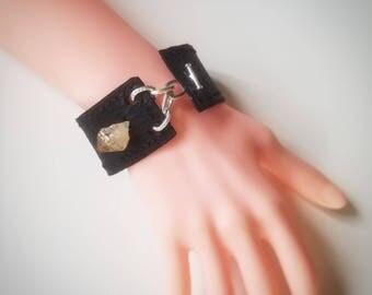 Raw Citrine Leather Cuff bracelet; handmade handcrafted jewelry; anniversary birthday gift; rock gemstone silver chain black leather