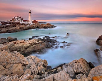 Maine Lighthouse Photography, Portland Head Light, Large Seascape Art Print, Large Coastal Art, Ethereal Wall Art, Long Exposure Photograph