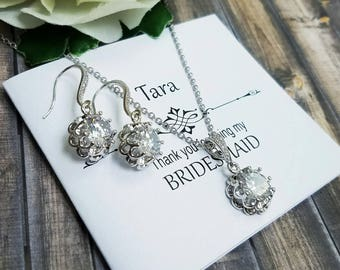 Bridal Jewelry Set, Wedding Jewelry Set, Bridesmaid Jewelry Set, Simple Bridal Jewelry Set, Bridal Earrings, Wedding Jewelry, Bridal