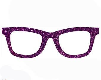 Glitter nerd glasses iron on patch 12 glittering colors 746
