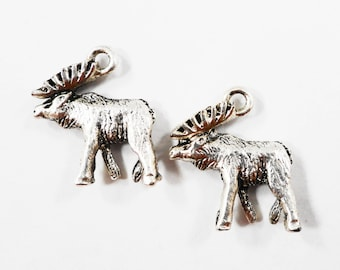 Silver Moose Charms 18x15mm Antique Silver Moose Pendants, Caribou Charms, Elk Charms, Animal Charms, 3D Silver Metal Charms, 10pcs
