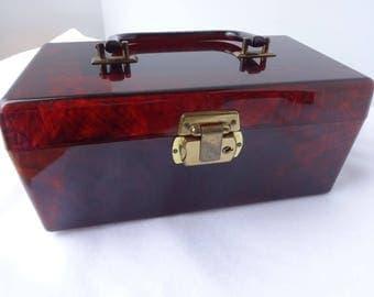 Vintage Lucite Purse Tortoise Box Purse  w Brass Hardware 1960s , Trinket box, Makeup Case As IS some scratches around lock