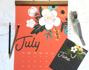 "2018 Monthly Wall Calendar Bold, Modern, Colorful, Floral Designs - 11"" x 17"" On Matte Cardstock - Home, Office, School, Apartment"