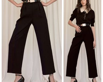 S.A.L.E was 220 now 190 chic vintage 70s/80s Yves SAINT LAURENT YSL black wool tailored trousers pants