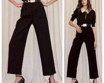 chic vintage 70s/80s Yves SAINT LAURENT YSL black wool tailored trousers pants