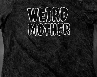 Black on Black, women's cut Weird Mother Mineral Wash Shirt.