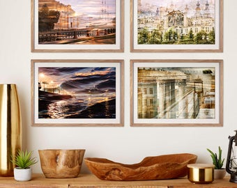Large gallery wall art Set of 4 prints, city art photography set of four artworks, lilac purple living room decor, St Petersburg 8x12, 20x30
