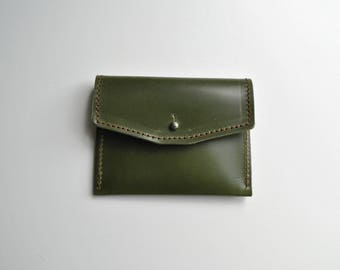Small green purse 'Ivy' rich dark green leather unlined, sam brown silver stud fastening perfect size for coins & cards