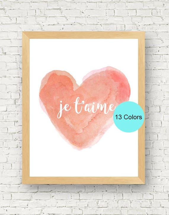 Je t'aime Watercolor Nursery Print in Coral, 11x14
