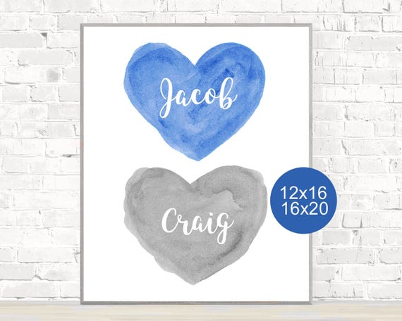 Brothers Poster, 12x16, 16x20, Blue and Gray Boys Bedroom Print