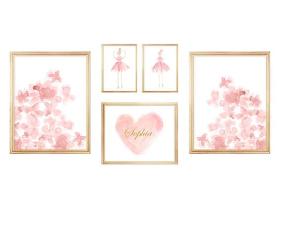 Blush Gallery Wall, Set of 5 Watercolor Prints for Girls