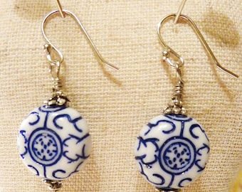 White Blue Chinese Oriental Dangly Earrings