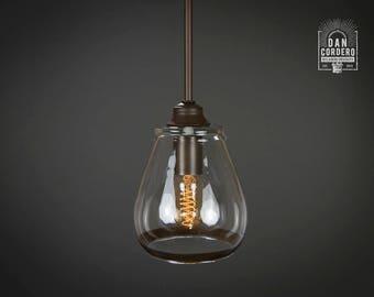 Pendant Light Fixture | Edison Bulb | Oil Rubbed Bronze | Pendant | Kitchen Light | Pendant Light |  Edison Light Bulb | Pear Trim Shade