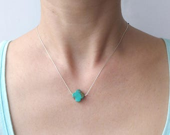 Turquoise Cross Necklace, Turquoise Necklace, Turquoise Jewelry, Clover Necklace, December Birthstone, Gold Filled or Sterling Silver