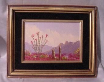 Reduced! Oil Painting Jack Bognar Studio Mesa, Show Low Arizona Desert Scene Cactus Mountains