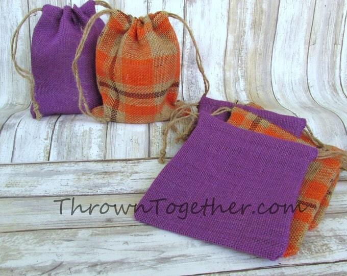 Orange Plaid & Purple Burlap Favor Bags, Halloween Party Favors, Rustic Favor Bag, Fall Party Favor Bag, Set of 6 Handmade Burlap Bags