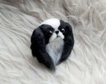 Japanese Chin Brooch, Needle Felted Dog Pin, Japanese Chin Gift