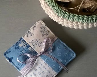 Set of 4 Fabric Drinks Coasters / Mug Mats in Blue Sky Fabrics by Edyta Sitar Vintage French Style Set 2