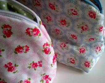 Blue Floral Cotton Make Up Bag with polka dot lining