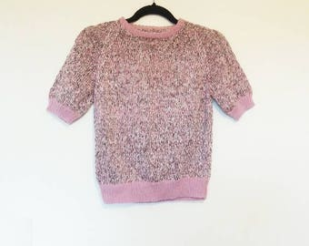 Pink Jumper Vintage Sweater Pink Contrast Collar Trim Pink Sparkly Sweater Short Sleeve Jumper Vintage Pink Pullover Contrast Cuff Pink Knit