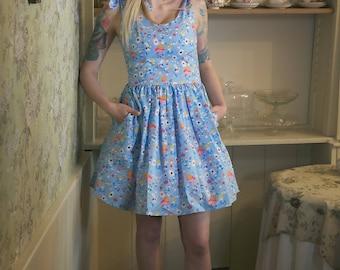 Tie Neck Alice in Wonderland Dress,  Alice in Wonderland, Alice in Wonderland Clothing, Alice in Wonderland Dress