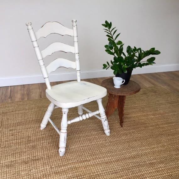 Farmhouse Kitchen Chair - Country Chic Furniture - Ladder Back Chair - White Wooden Chair - Mismatched Dining Chair - Rustic Farmhouse