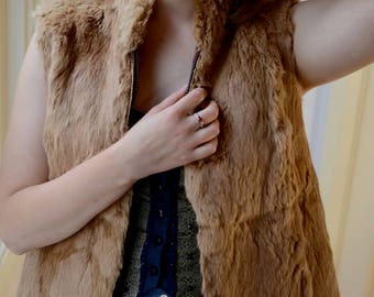 Vintage fur vest rabbit blonde bohemian zip front jacket vest warm top