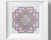 Geometric Mandala No. 1  - Modern Crosstitch Embroidery PDF pattern