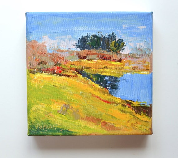"Plum island landscape, 6"" X 6"", acrylic/canvas"
