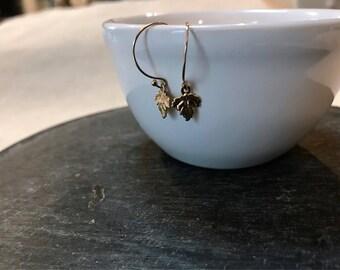 flutter... gold leaf earrings / 14k gold filled dainty leaf earrings