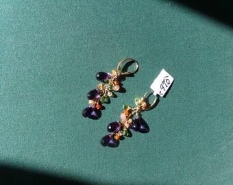 Amethyst earrings with Oregon sunstone peridot opaque rhodochrosite gold filled handmade item 975