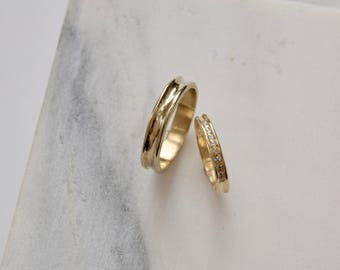 Mens Gold Wedding Band Mens Gold Band Mens Gold Ring Mens Yellow Gold Ring Gold Wedding Band
