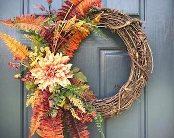 Fall Wreaths, Fall Fern Wreath, Fall Door Wreaths, Fern Wreaths, Fall Door Decor, Gift for Her, Fall Decorating, Front Door Wreath