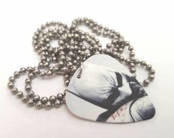 Batman Guitar Pick Necklace with Stainless Steel Ball Chain - super hero - comic book - DC Comics
