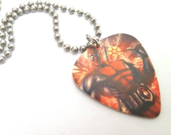 Deadpool Guitar Pick Necklace with Stainless Steel Ball Chain - comic book - Marvel Comics