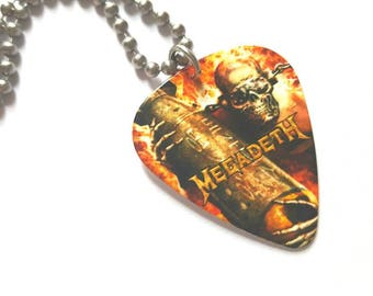 Megadeath Guitar Pick Necklace with Stainless Steel Ball Chain - music